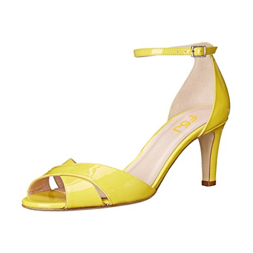 cheap sale latest collections FSJ Women Comfy Peep Toe Sandals Thick Low Heels Pumps Cross Strap Two Piece Shoes Size 4-15 US Yellow buy cheap with mastercard cheap 100% authentic discount new 6H2QkxE9g