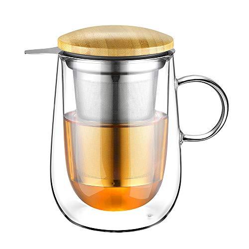 Glastal 430ml Taza de te de vidrio de doble pared con colador de metal Taza de te de vidrio Taza de vidrio
