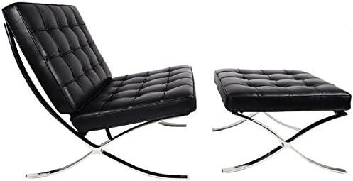 Amazon.com: Barcelona Chair & Ottoman - Black Aniline ...