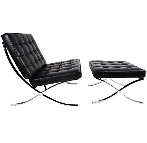 (Barcelona Chair & Ottoman - Top Grain Black Leather)