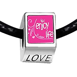 Chicforest Silver Plated Enjoy Life Hearts Photo LOVE Charm Beads Fit Pandora Chamilia Biagi Charm Bracelet