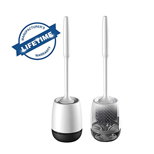 CZF White Toilet Brush and Holder,Bathroom Toilet Bowl Brush Set [2019 Upgrade Version] Silicone Toilet Brush Head is Made of thermoplastic Rubber, deep Cleaning (53.3)