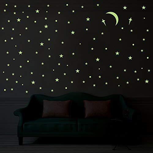PARLAIM Removable Glow in The Dark Star and Planet Wall Stickers Bright Solar System Wall Stickers Perfect for Kids (Glowing Stars, 272 pcs)