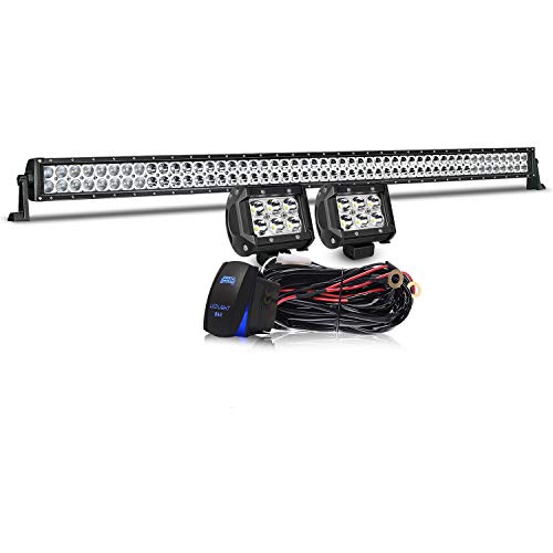 "Led Light Bar TURBOSII 52"" Inch 300W Flood Spot Combo LED Work Light Bar OffRoad Light For Jeep Truck Wrangler JK Ford Toyota Boat 4x4 GMC Chevy Silverado + 4"" Light Cube Pods"