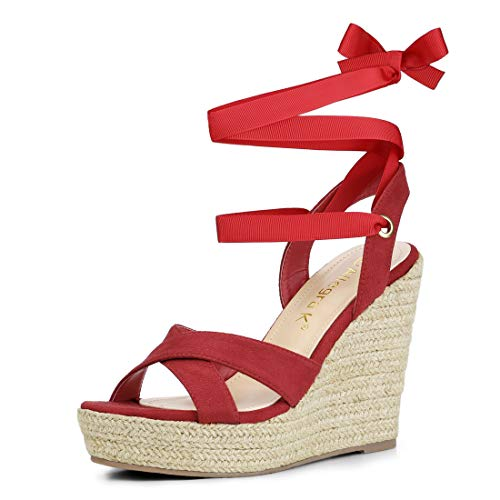 padrille Platform Lace Up Wedges Red Sandals - 7.5 M US ()