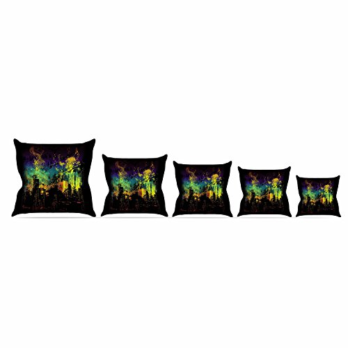 Over Woven Futon Chair Cover - Kess InHouse Federic Levy-Hadida City Grid Black Rainbow Throw Pillow, 18 by 18