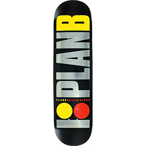 (Plan B Team OG Logo 7.7 BLACK.ICE DECK Assembled as COMPLETE Skateboard - New!)
