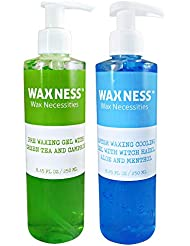 Waxness Pre Post Waxing Gel Kit with Green Tea and Camphor Pre Gel and Menthol Cooling Gel 2 X 8.45 fl oz 250 ml