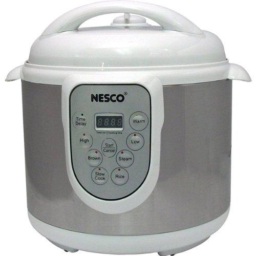 Nesco - 6-Quart Stainless Steel Pressure/Slow Cooker and Steamer