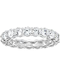 Plated Sterling Silver Round-Cut Cubic Zirconia All-Around Band Ring