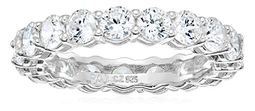 Amazon Essentials Platinum Plated Sterling Silver Round Cut Cubic Zirconia All-Around Band Ring (3.5mm), Size ()