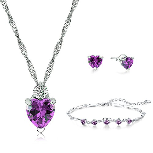 925 Sterling Silver Red Heart Pendant Necklace Stud Earrings Bracelet Set For Women Teen Girls Gift (Purple) (925 Necklace Set)