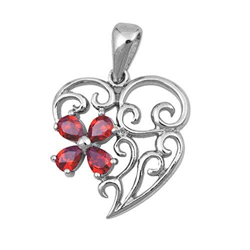 Heart Pendant Simulated Garnet .925 Sterling Silver Filigree Flower Love Charm Elegant Handcrafted Garnet Pendant