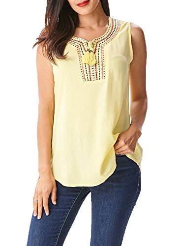[in2you Tribal Sleeveless Bohemian Top with Embroidered details on Chest] (Embroidered Sleeveless Top)