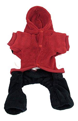 Uxcell Panda Design Warm Press Stud Button Hoodie Pet Dog Jumpsuit M Red