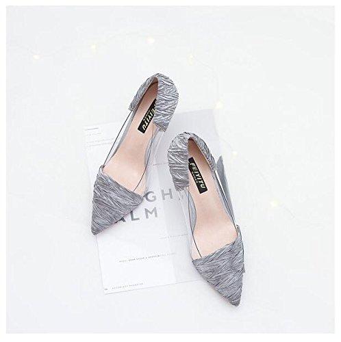 Sandals Large Heels Platform Size Pumps Women Shoes Stiletto Dress Party Grey High 4S7InTwq