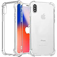 Tersely iPhone X XS Case, Soft Clear Crystal Flexible Ultra Slim TPU Bumper Case Cover for Apple iPhone X / 10 Case with Shockproof Protective Cushion Corner [Compatible with Wireless Charger]- Clear