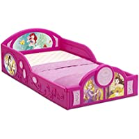Disney Princess Deluxe Toddler Bed with Attached Guardrails | Cinderella | Belle – Beauty and The Beast| Ariel – Little Mermaid | Rapunzel – Tangled