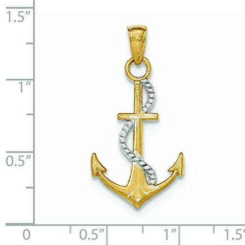 Y Or poli 14 carats avec pendentif Ancre W Corde JewelryWeb