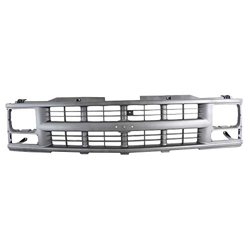 Perfit Liner New Front Argent Grille Grill For GMC Chevy Chevrolet C/K 1500 2500 3500 Pickup Blazer Truck Tahoe Suburban SUV W/Sealed Beam Head Lamp GM1200358 15709236
