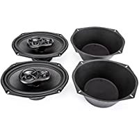 Skar Audio RPX69 6 x 9 300W 3 Way Coaxial Speakers (1 Pair) with One Pair of 6 x 9 Universal Speaker Baffles