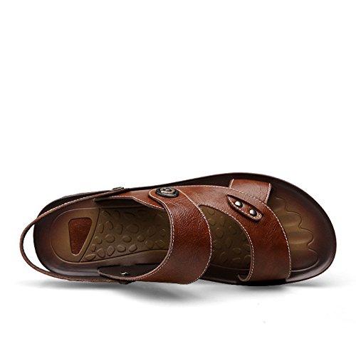 I sandali di estate degli uomini di estate adattano a pattini respirabili esterni della spiaggia di usura dei sandali, marrone, UK = 7.5, EU = 41 1/3