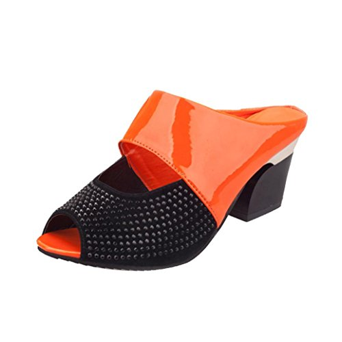 Frauen Sandalen Strass Thick Mid Heel Open Toe Farbe Block Dekoration Sandalen Orange