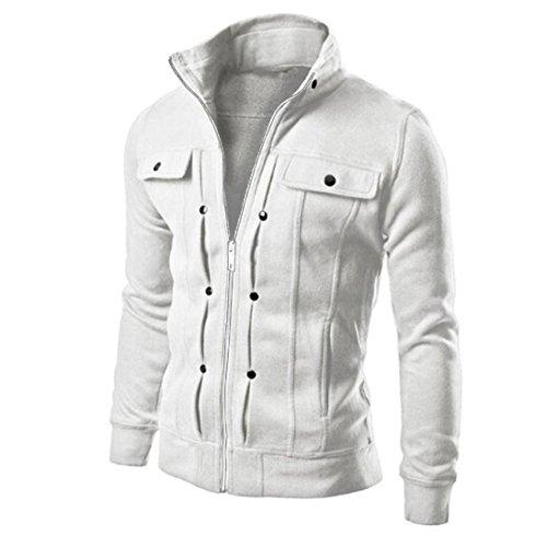 White Clothing Hood (Big Promotion! Fashion Mens Slim Designed Lapel Cardigan Coat Jacket Top Hot (White, XXL))