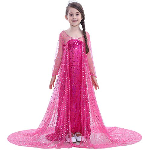 SANNYHHOOT Girl's Sequined Princess Dress Halloween Fancy Party Dress Up Costume Cosplay