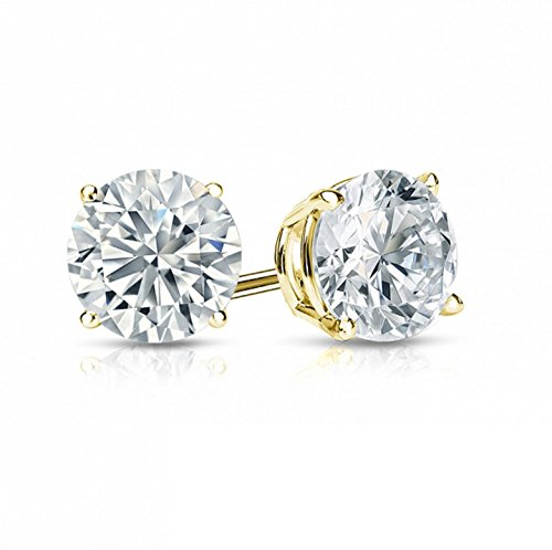 1.0 ct Round Brilliant Cut Simulated Diamond CZ Solitaire Stud Earrings in 14k Yellow Gold Push (Brilliant Cut Gold Earrings)