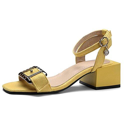 COOLCEPT Mujer Chic Al Tobillo Sandalias Punta Abierta Slingback Tacon Ancho Zapatos Amarillo