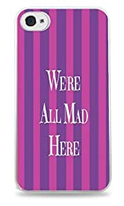 Popular We're All Mad Stripes ed Design White Silicone Phone Case for ipod touch 4 touch 4 /