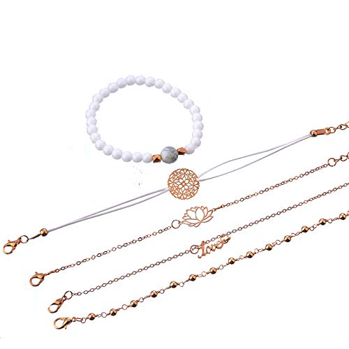 5 Piece Bracelet-White Lotus Design, White Bead String and Cyan Bead Gold Bracelet for Women