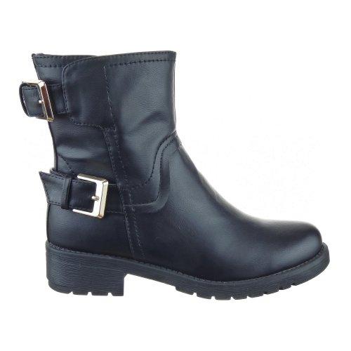 Sopily - Scarpe da Moda Stivaletti - Scarponcini Low Boots Rangers donna fibbia Tacco a blocco 3.5 CM - Nero