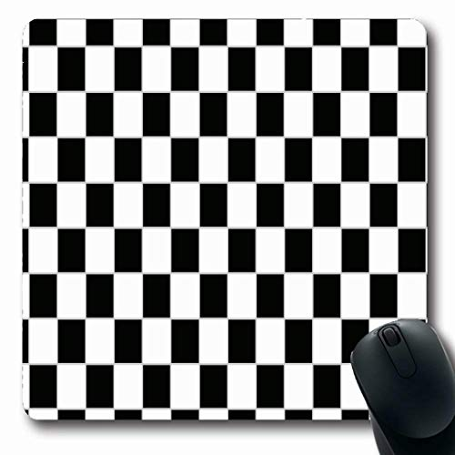 Ahawoso Mousepads for Computers Abstract Gray Border Black White Checkered Rectangle Checker Board Check Checkerboard Chess Oblong Shape 7.9 x 9.5 Inches Non-Slip Oblong Gaming Mouse Pad