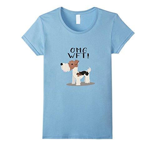Womens OMG WFT! Wire Fox Terrier Shirt Medium Baby Blue