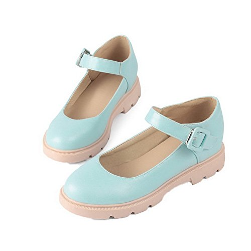 Women's Shoes Low WeiPoot Heels Closed Toe Blue Pull On PU Solid Pumps dvFv6xa