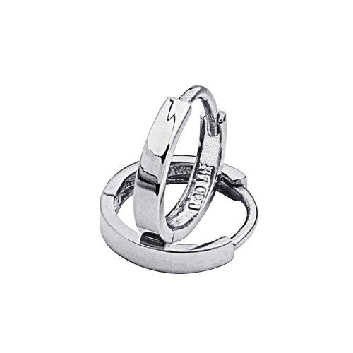 14k White Gold 2mm Thickness Huggie Earrings (11 x 11 mm) -