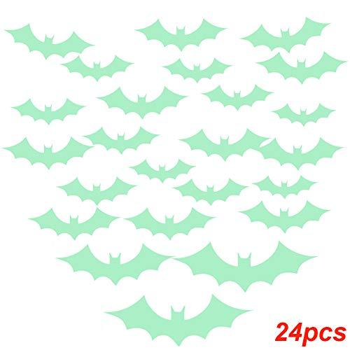 Belegend 24pcs/ Set Luminous Wall Stickers Halloween Bats Decor Decals Kids Children Home Room Cartoon Decoration