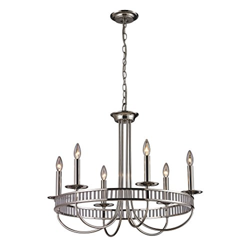 (Alumbrada Collection Braxton 6 Light Chandelier In Polished Nickel)