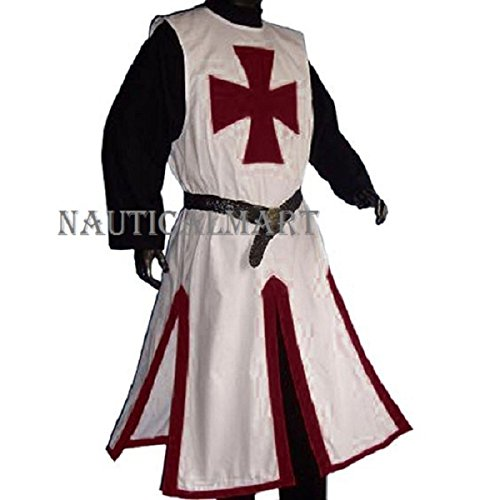 Medieval LARP Knights Templar Cross Surcoat, White/Dark Red