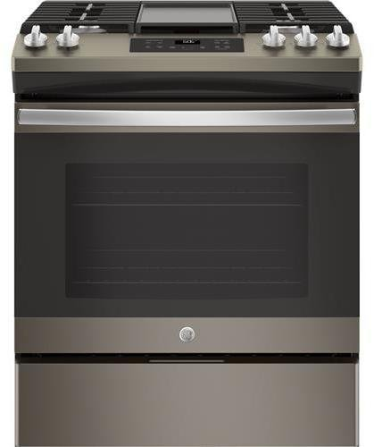 GE JGSS66EELES Slate Series 30 Inch Slide-in Gas Range with Sealed Burner Cooktop, 5.6 cu. ft. Primary Oven Capacity, in Slate