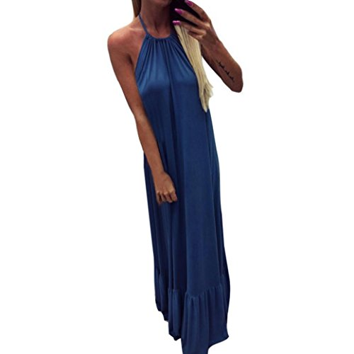 Price comparison product image Long Dress, Franterd Womens Spaghetti Strap Solid Tank Maxi Beach Dress, Sling, Backless, Casual, Loose (M, Blue)