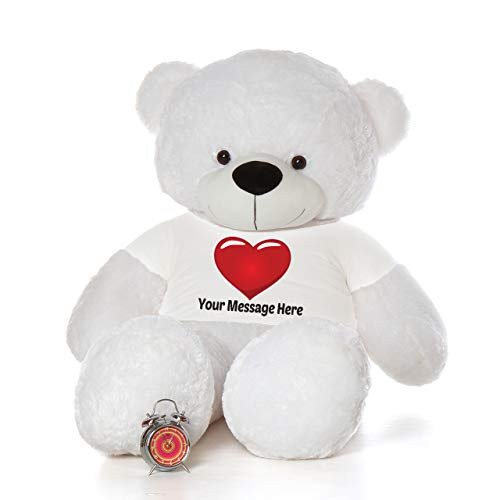 Cuddle White Bear - Giant Teddy Personalized Life Size 6 Foot Bear Cuddles with Red Heart T-Shirt (Snow White)
