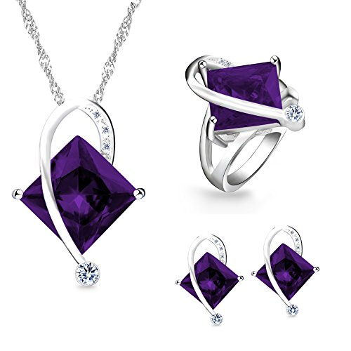 metric Shape Simulated Purple Topaz Silver Color Chain Necklace Stud Drop Earrings Rings Pretty Bridal Jewelry Set for Women Girl (Purple, Size 8) T295 ()