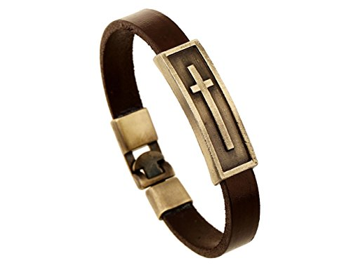 [Konalla Simple Cross Shaped Retro Genuine Leather Men's Bracelet, Brown, 8