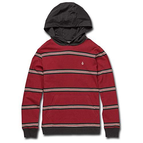 Volcom Big Boy's Beauville Stripe Hooded Long Sleeve Shirt, Burgundy, Large