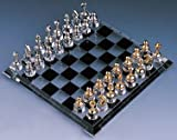 Crystal Chess Set - Solid alloy chess pieces, silver-plated and gold-plated, beveled crystal base with solid silver-plated feet