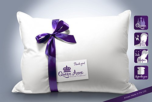 High End Luxury Hotel Pillow  Exclusive Down Alternative  Queen Medium Pillow  The Heavenly Down Allergy Free Pillow  Performs Like Plush Goose Down  Only By Queen Anne Pillow  Made In The U S A
