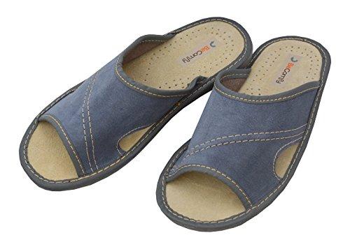 BeComfy Herren Hausschuhe Leder Blau Pantoffeln Geschenkkarton (Wahlweise) Modell XC67 Blau